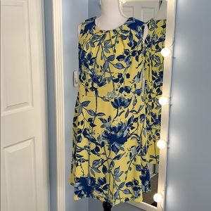 Dressbarn Yellow and Blue Sleeveless Dress